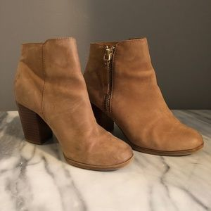 Light Tan Soft-Suede Ankle Booties